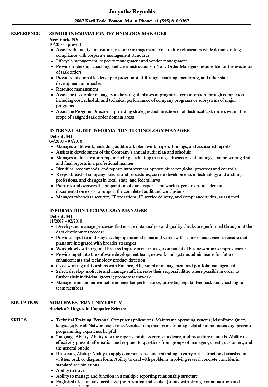 Information Technology Manager Resume Samples   Velvet Jobs