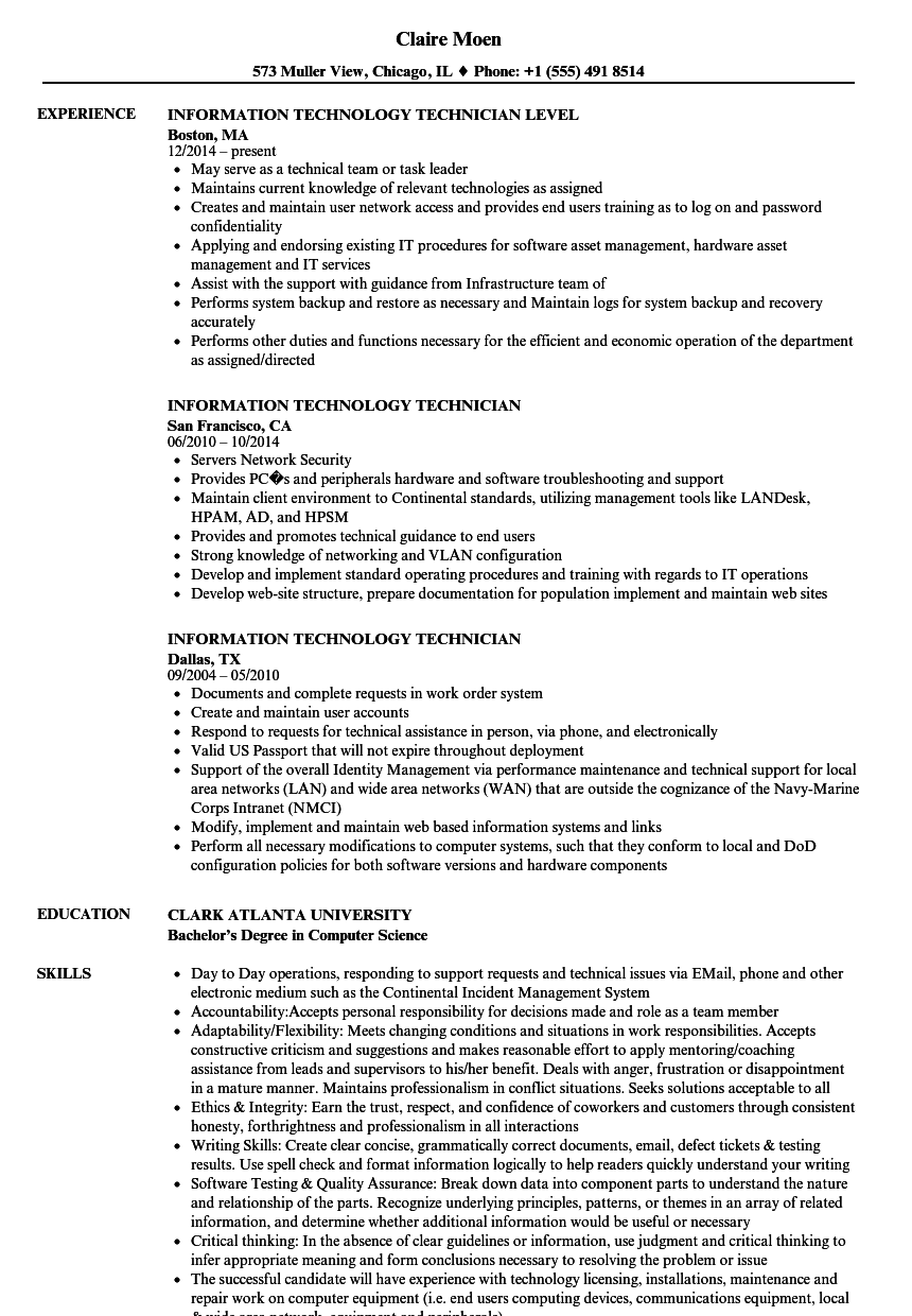 information technology technician resume samples