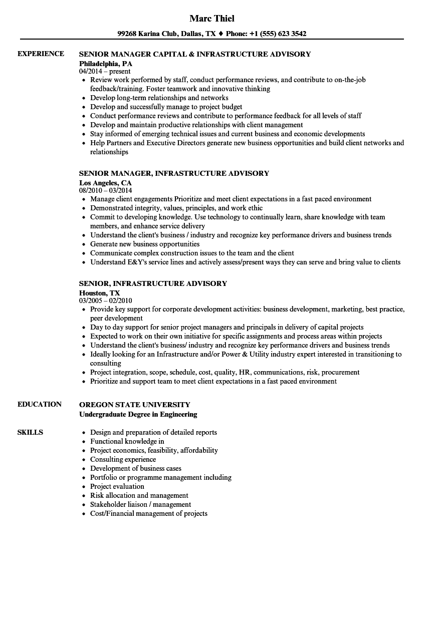 infrastructure advisory resume samples