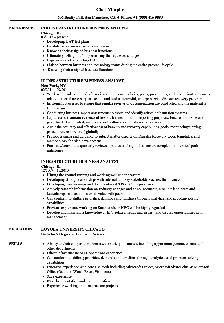 download infrastructure business analyst resume sample as image file - It Business Analyst Resume Sample