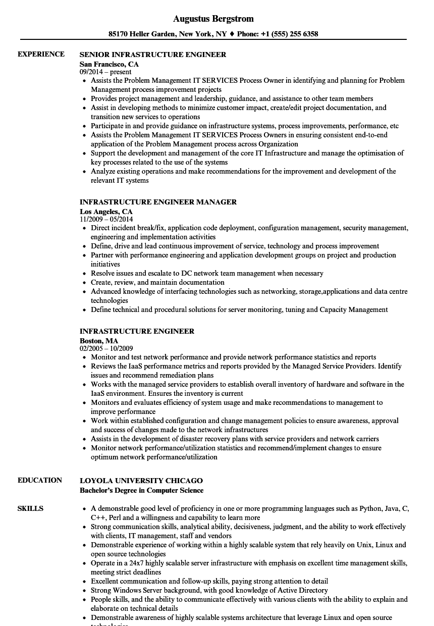 infrastructure engineer resume samples