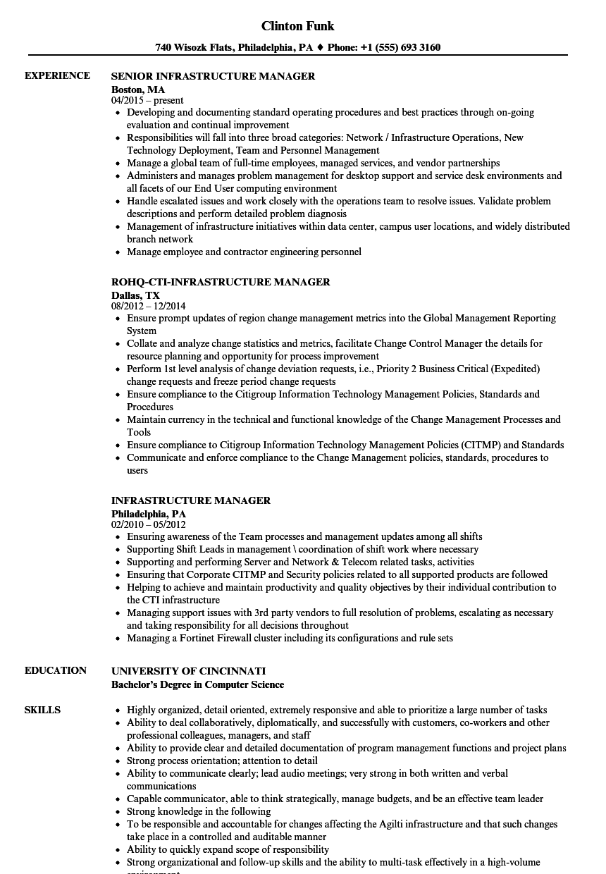 infrastructure manager resume samples