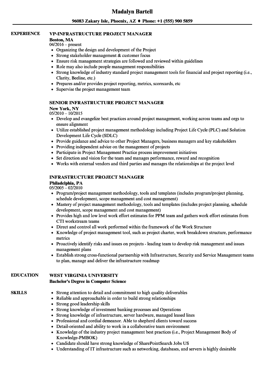 sample resume project manager infrastructure