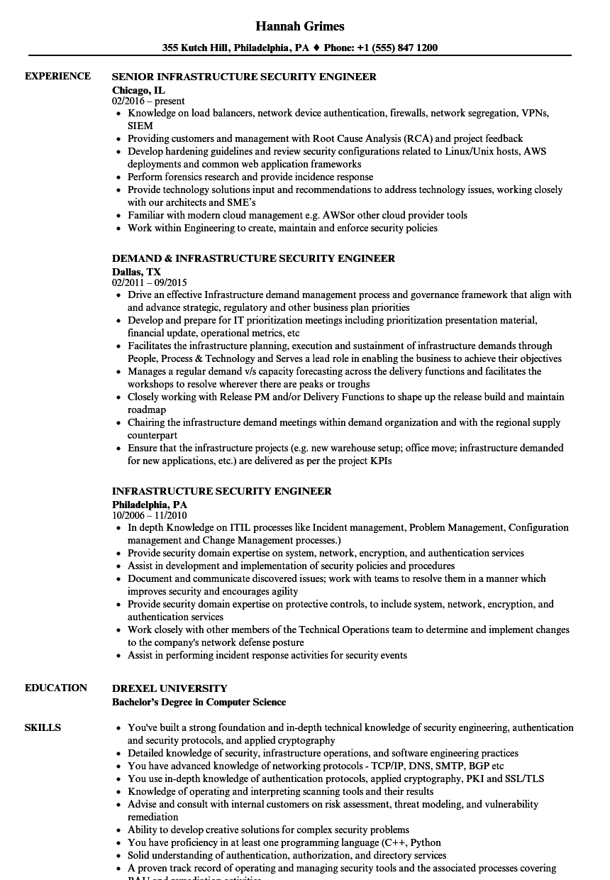 Infrastructure Security Engineer Resume Samples | Velvet Jobs