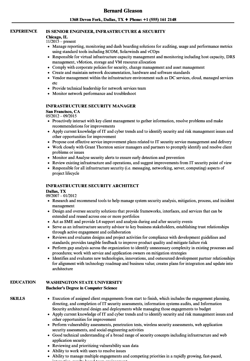 infrastructure security resume samples