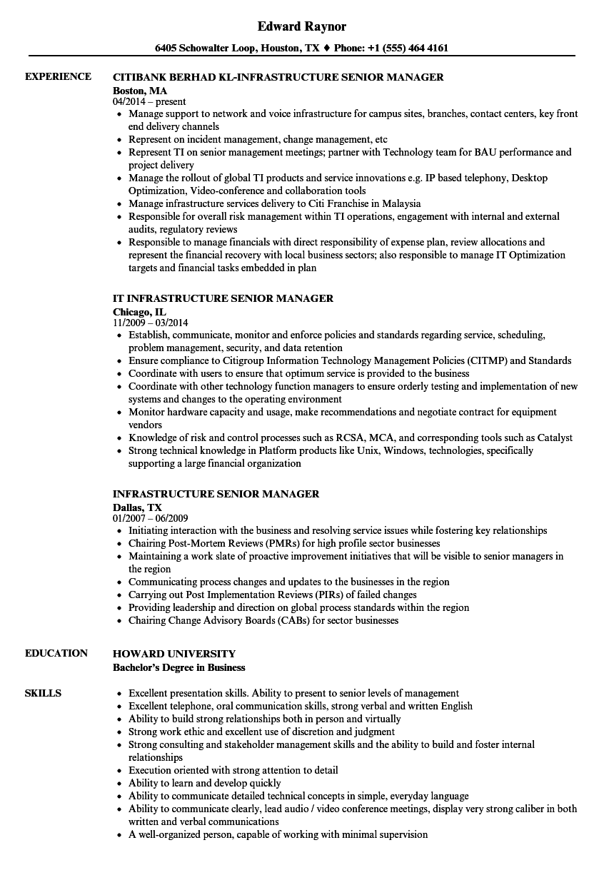 infrastructure senior manager resume samples