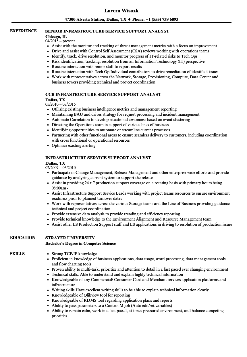 Infrastructure Service Support Analyst Resume Samples | Velvet Jobs