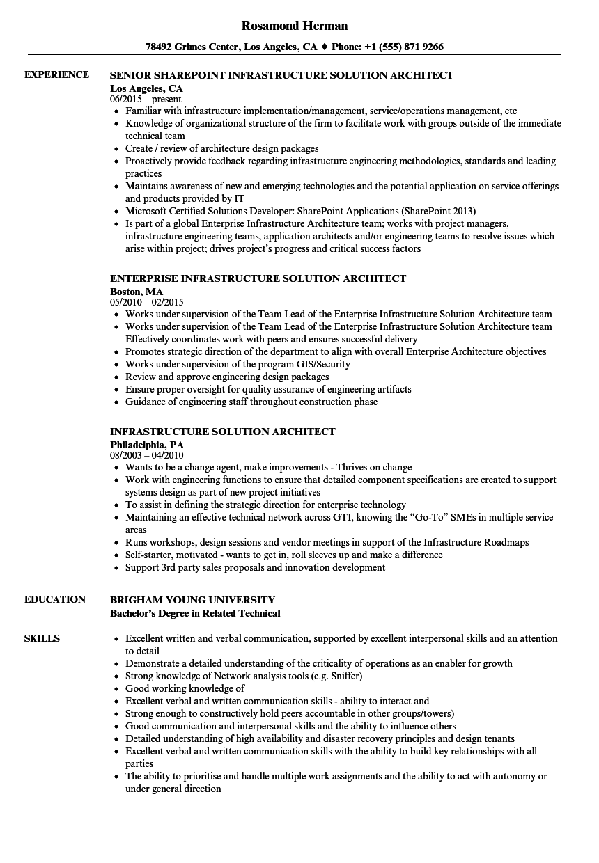 Infrastructure Solution Architect Resume Samples | Velvet Jobs