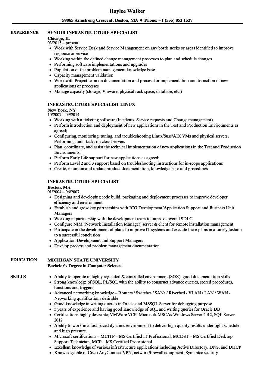 Infrastructure Specialist Resume Samples Velvet Jobs