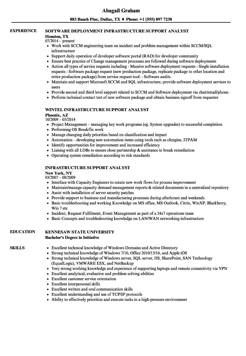 Download Infrastructure Support Analyst Resume Sample as Image file