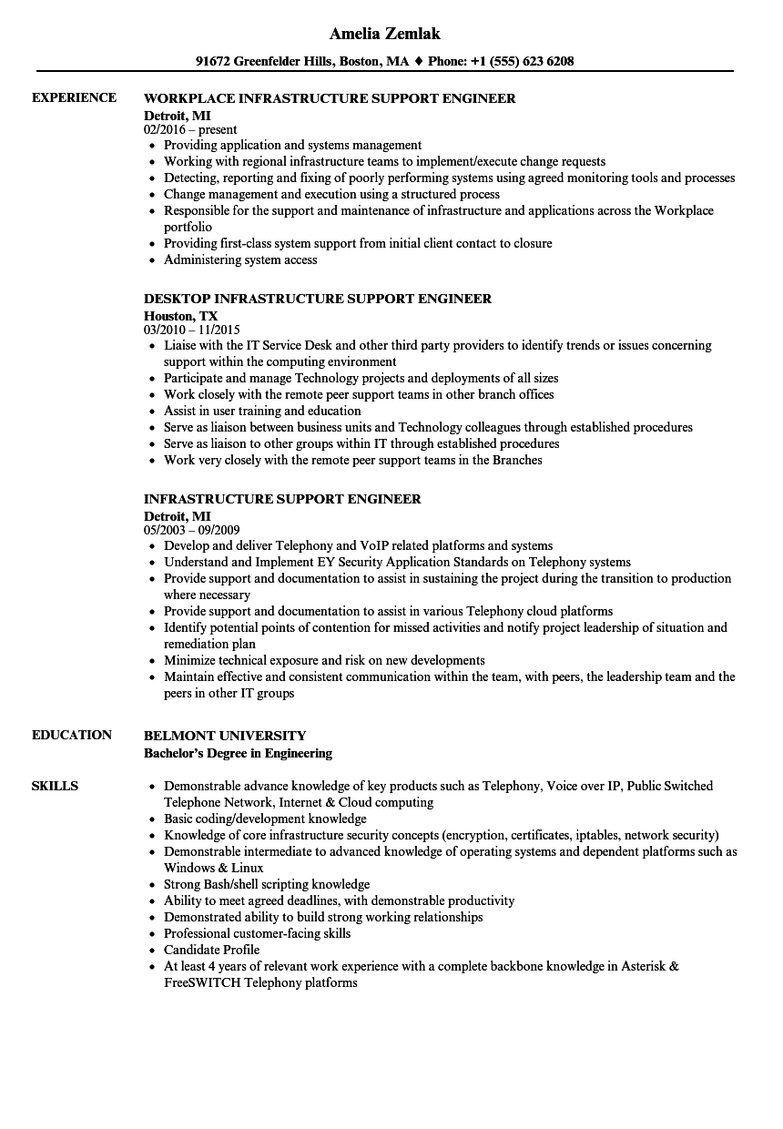 Infrastructure Support Engineer Resume Samples Velvet Jobs