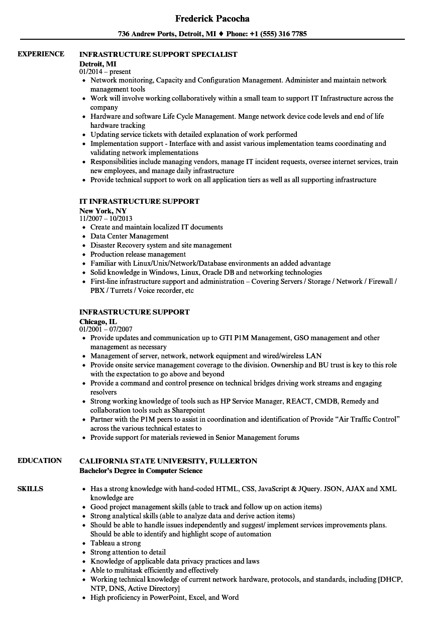 Infrastructure Support Resume Samples | Velvet Jobs