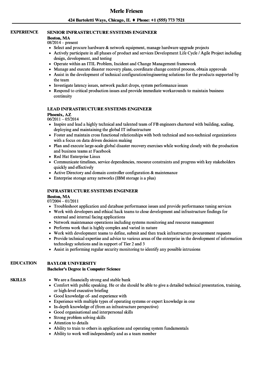 infrastructure systems engineer resume samples