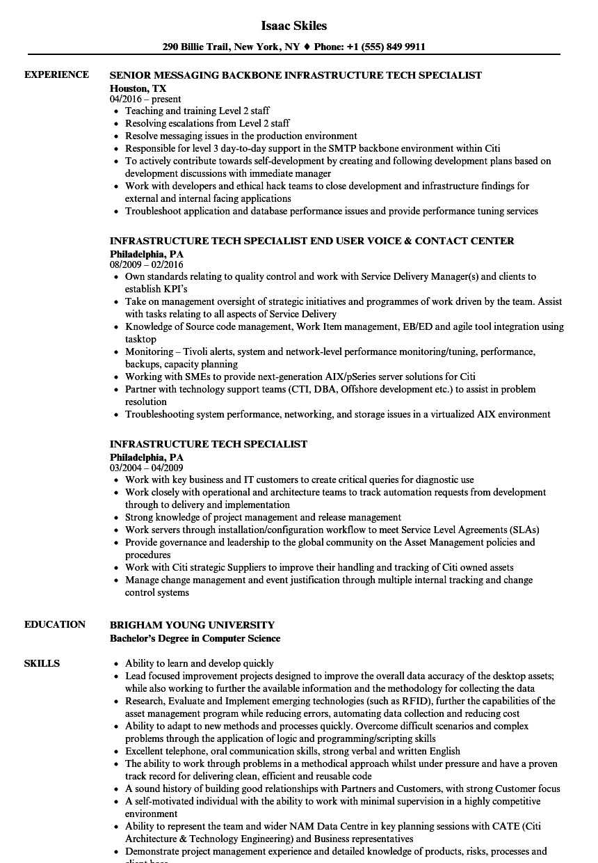 infrastructure tech specialist resume samples