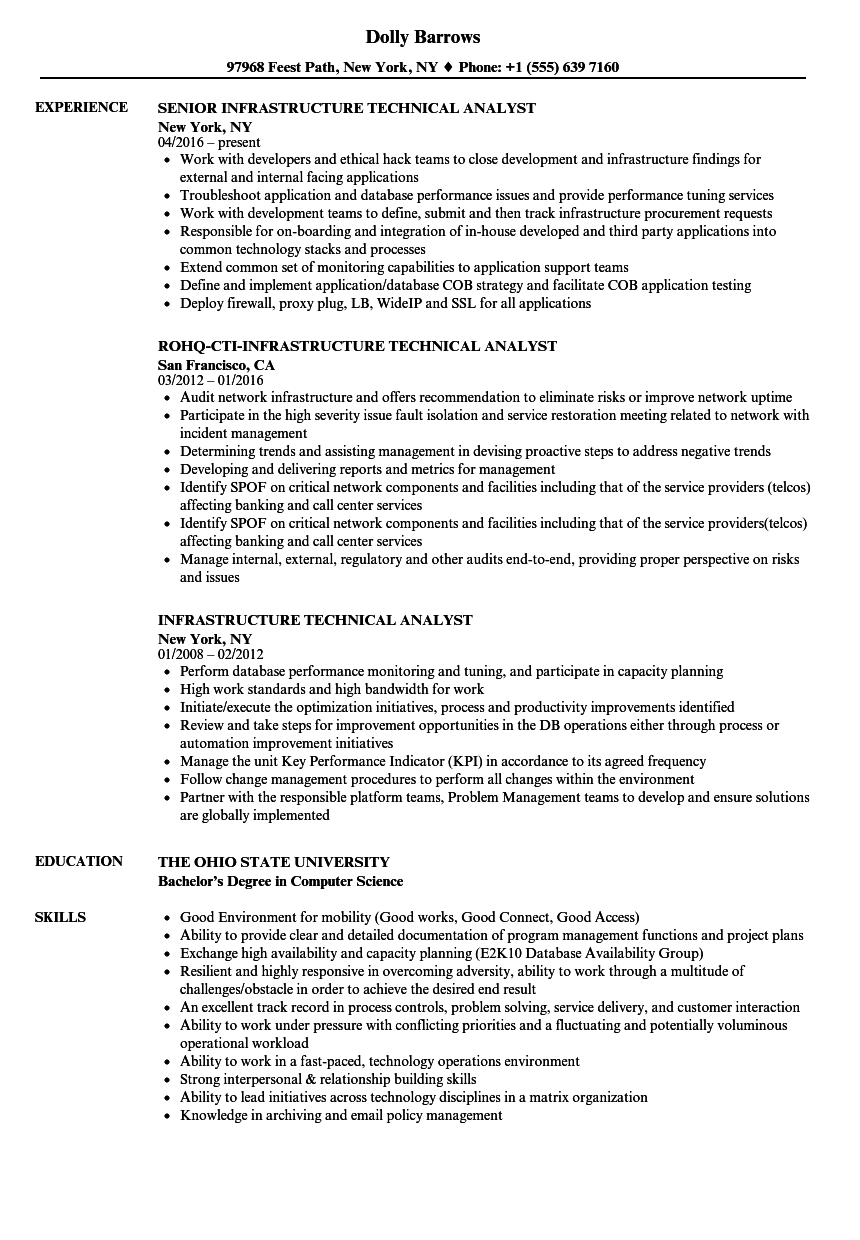 Infrastructure Technical Analyst Resume Samples Velvet Jobs