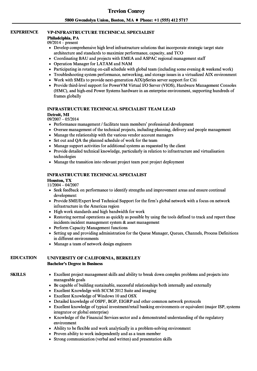 infrastructure technical specialist resume samples