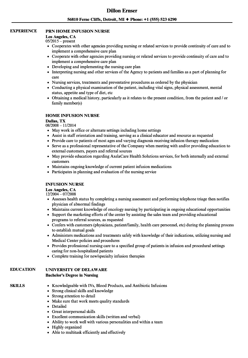 Infusion Nurse Resume Samples | Velvet Jobs
