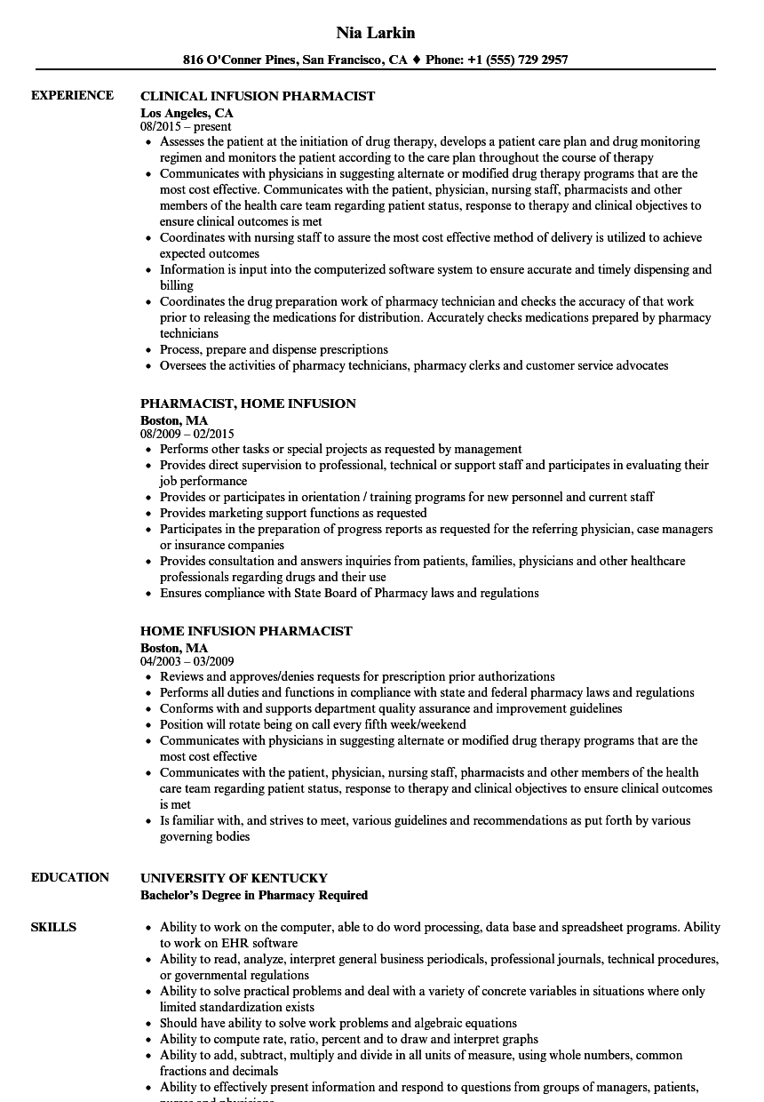 infusion pharmacist resume samples velvet jobs