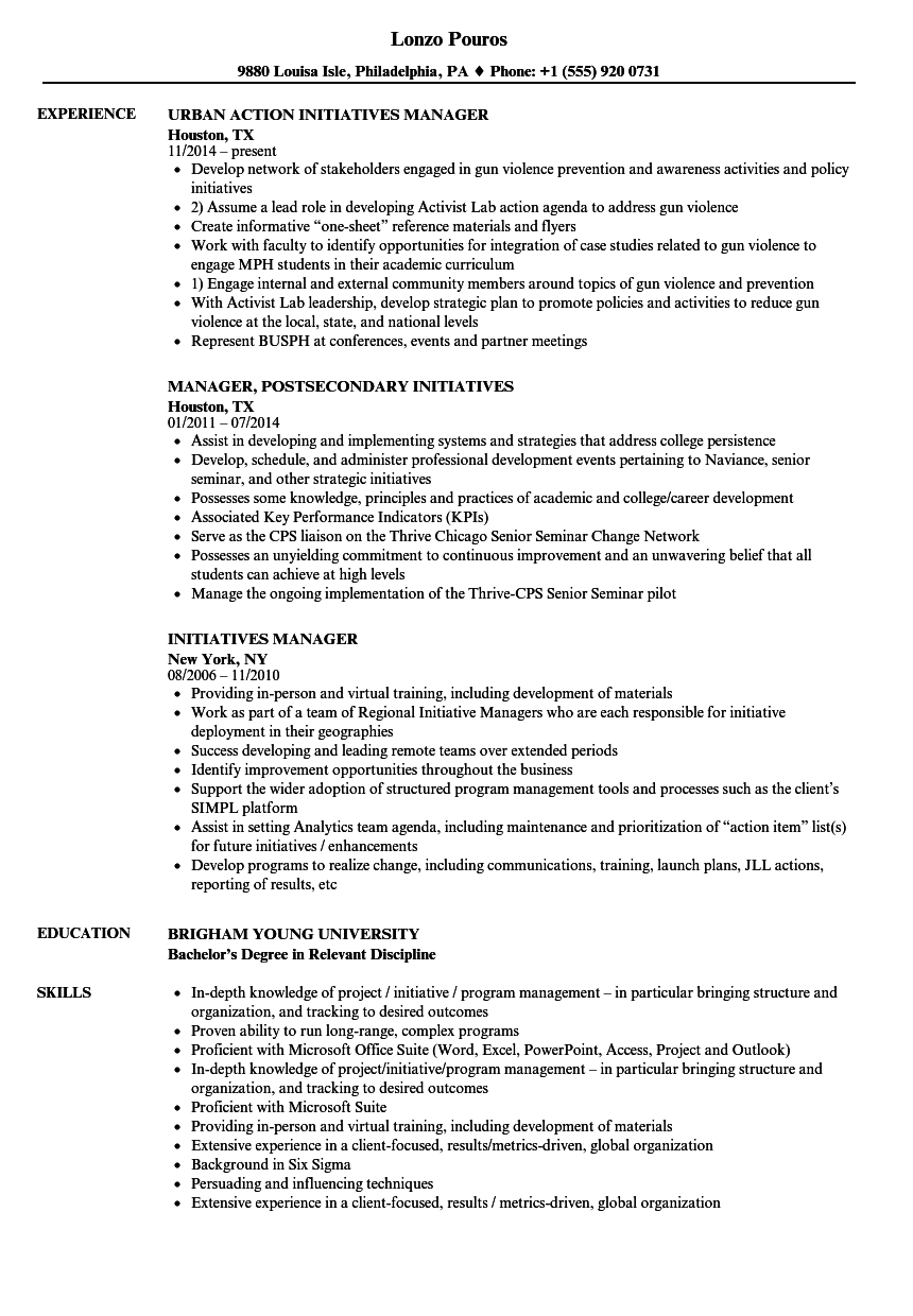 initiatives manager resume samples