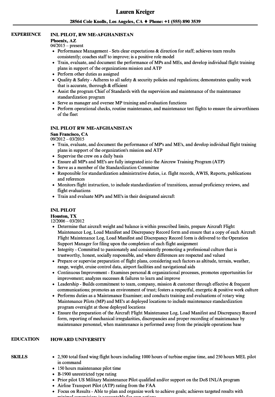 download inl pilot resume sample as image file