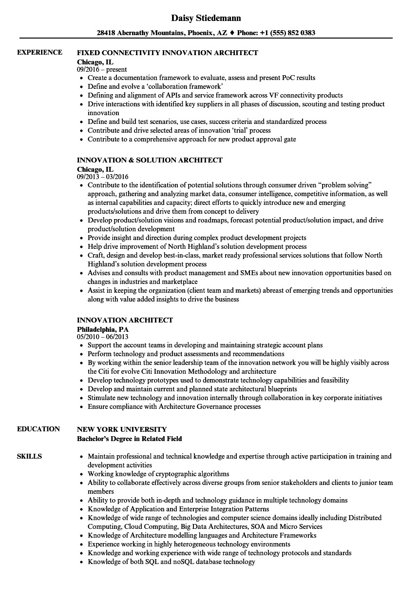 download innovation architect resume sample as image file - Sample Architect Resume