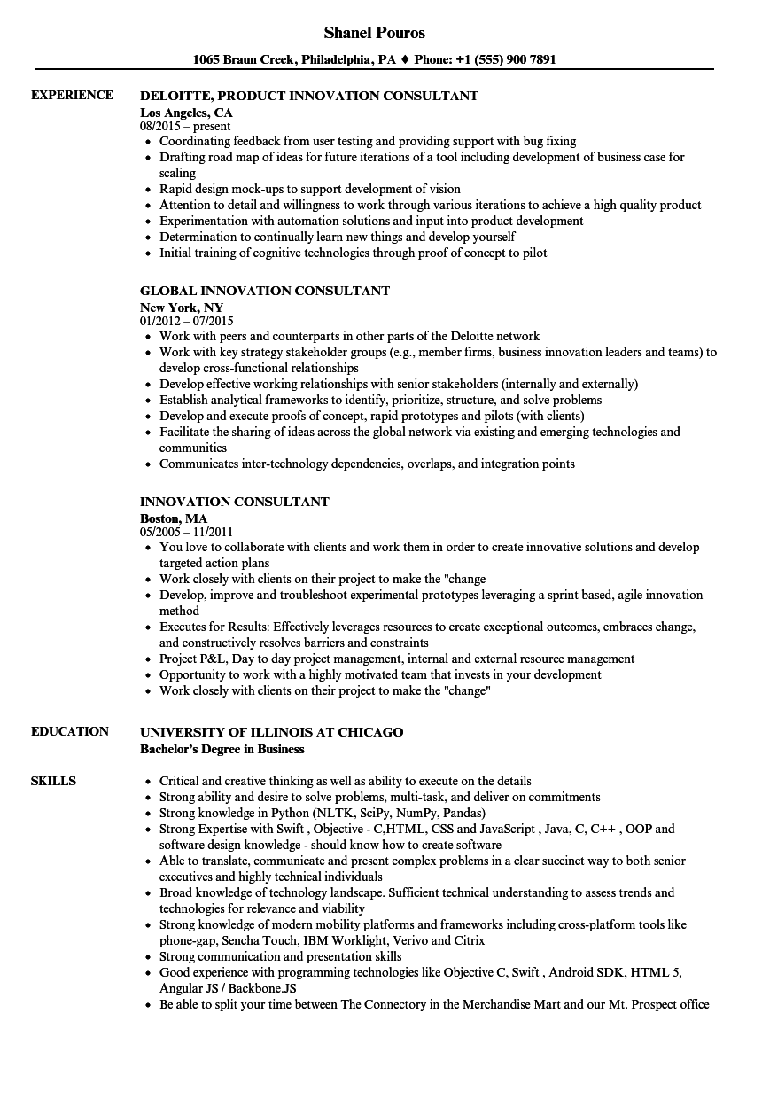 innovation consultant resume samples