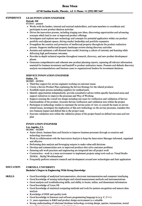Innovation Engineer Resume Samples | Velvet Jobs