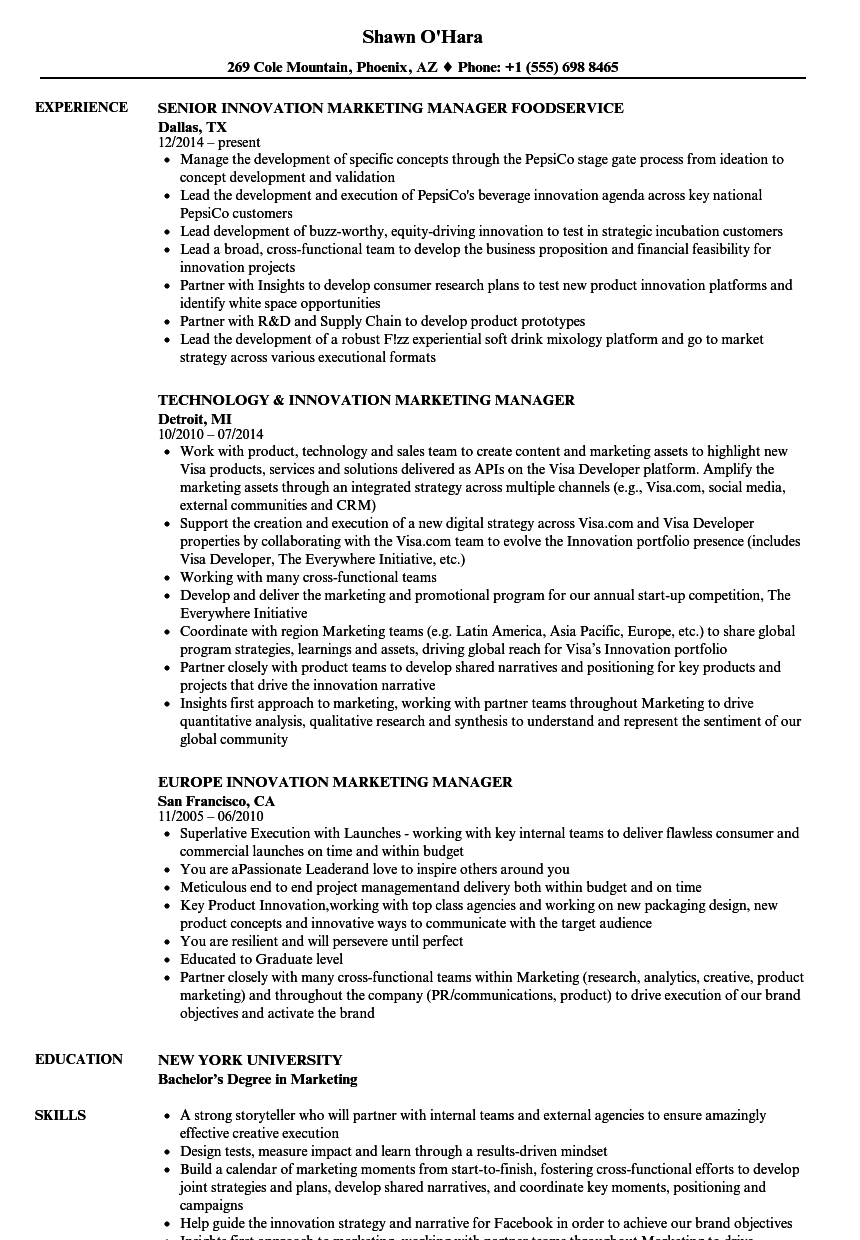 Innovation Marketing Manager Resume Samples | Velvet Jobs