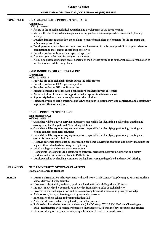Inside Product Specialist Resume Samples Velvet Jobs