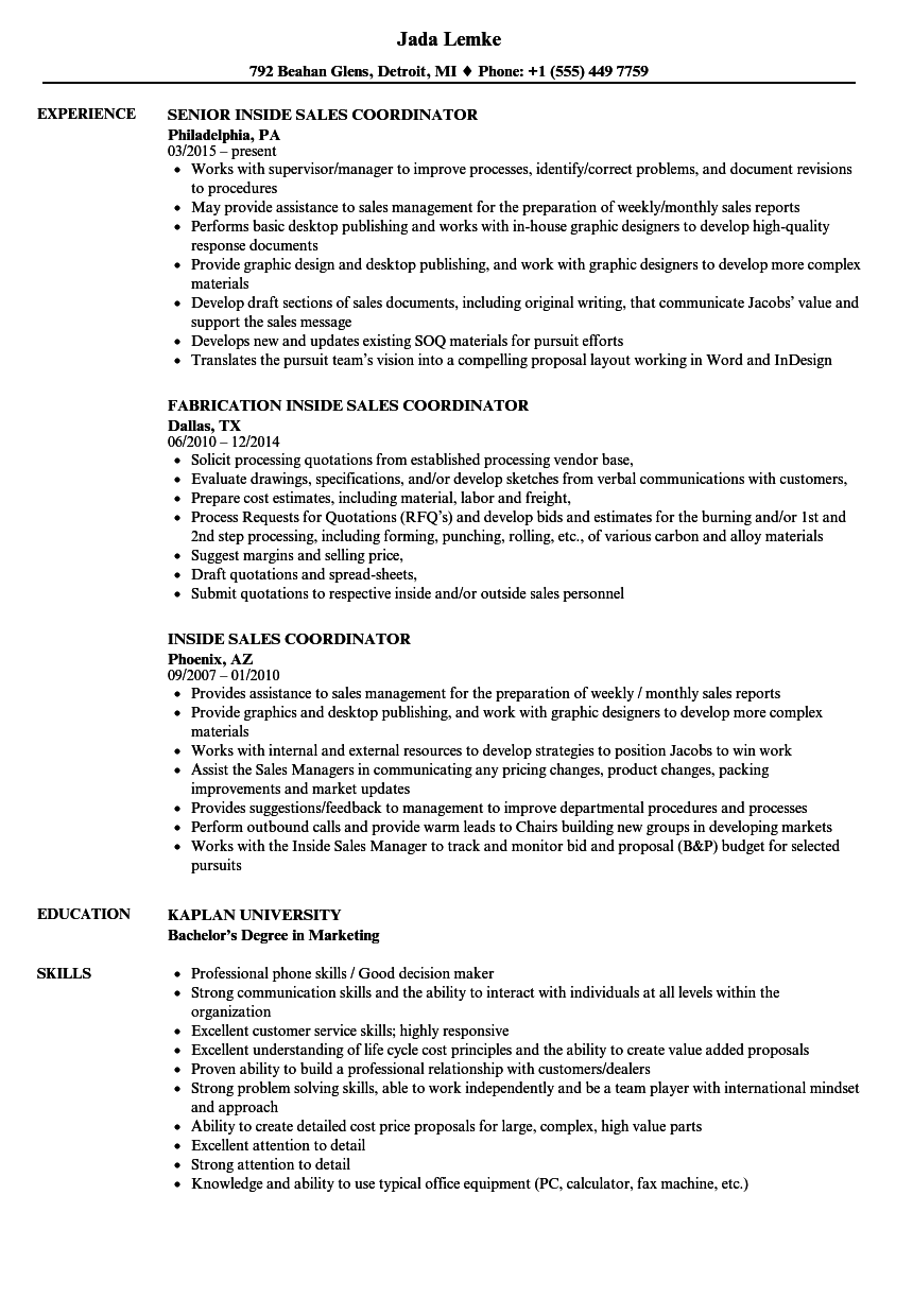 inside sales coordinator resume samples