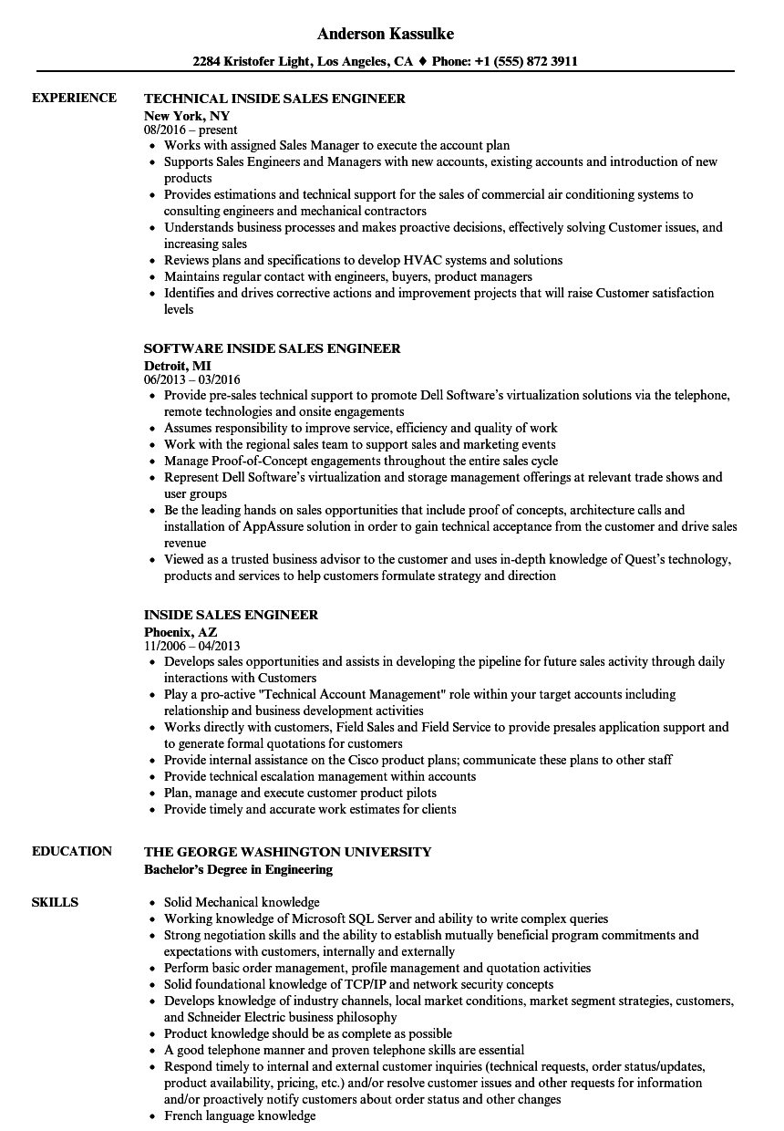Inside Sales Engineer Resume Samples Velvet Jobs