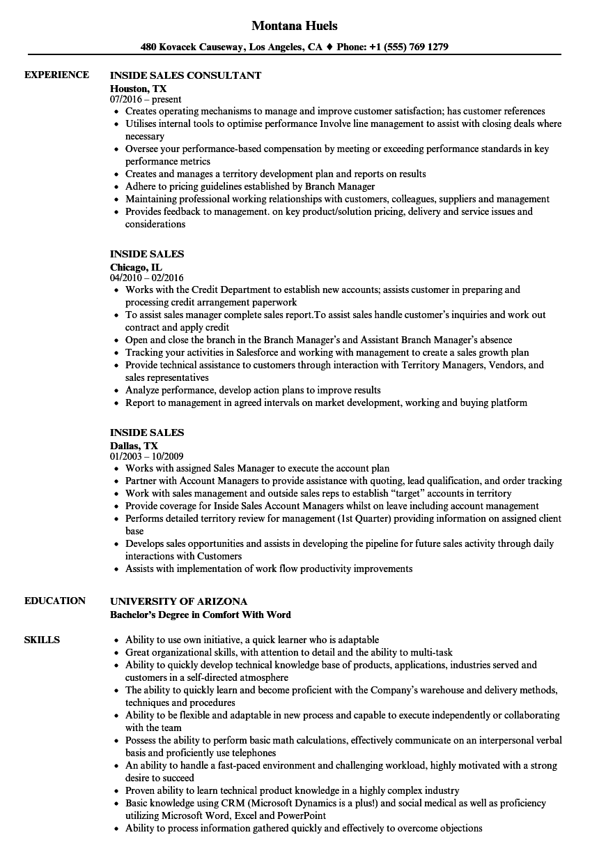 Inside Sales Resume Samples | Velvet Jobs
