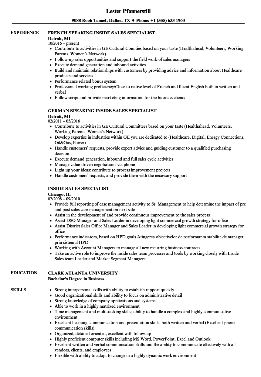 inside sales specialist resume samples