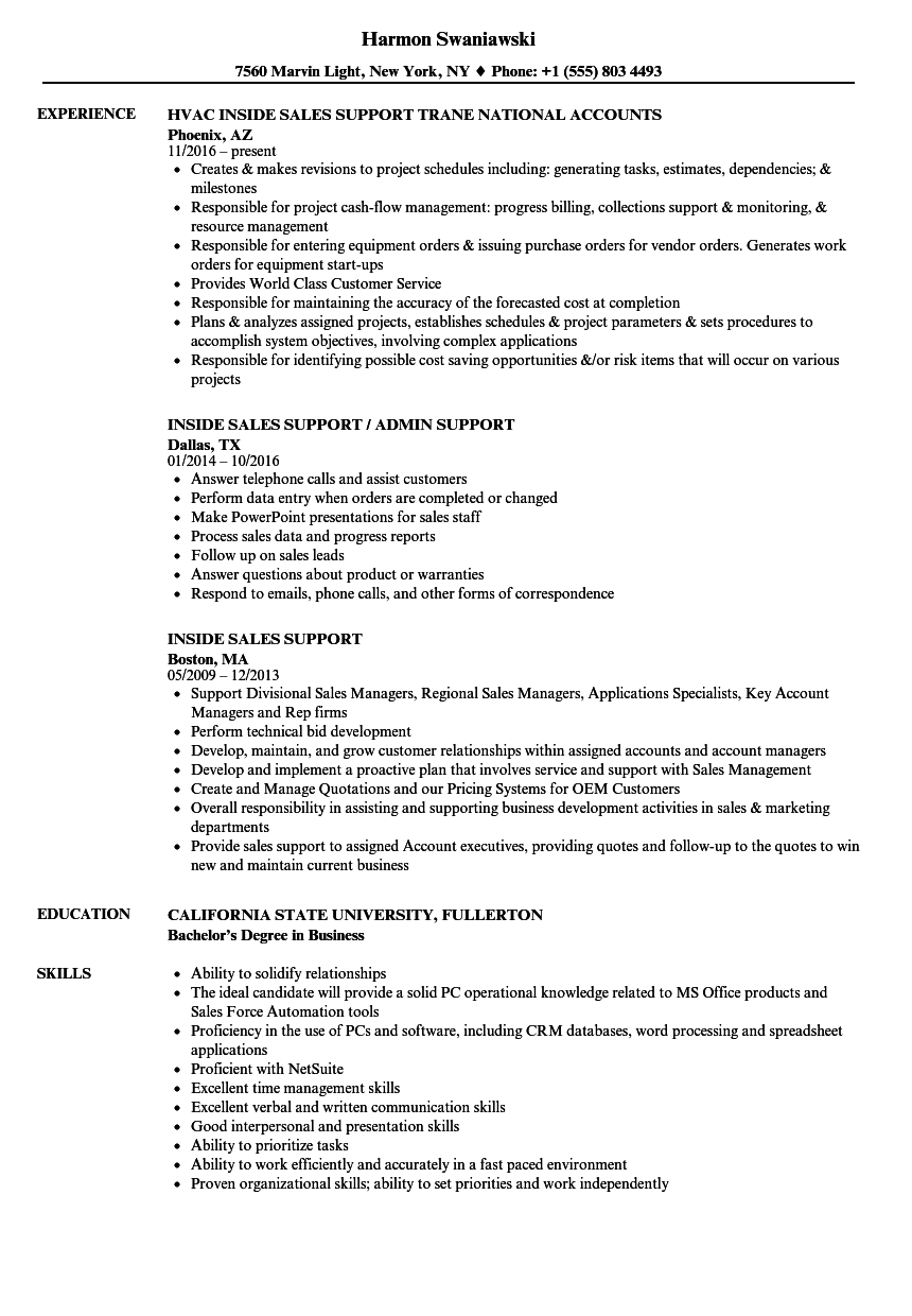 inside sales support resume samples