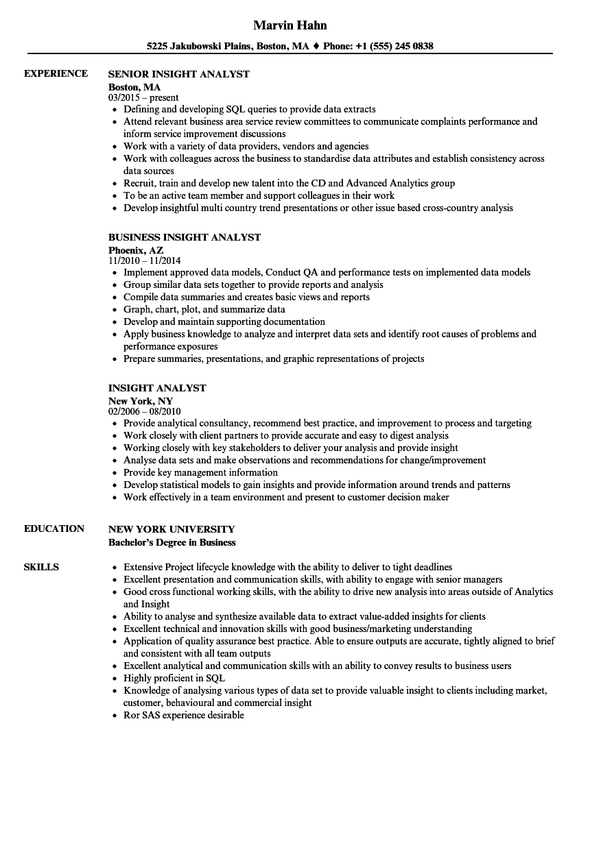 Insight Resume Examples
