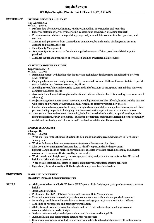 Insights Analyst Resume Samples | Velvet Jobs