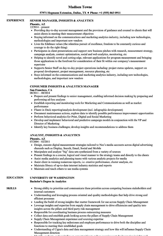 insights  u0026 analytics resume samples