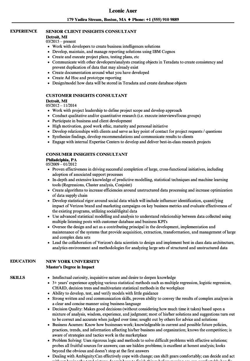 insights consultant resume samples