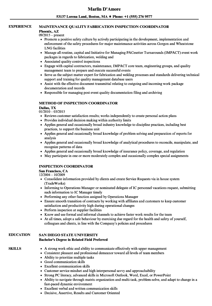 inspection coordinator resume samples