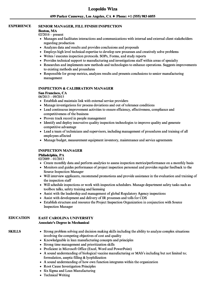 inspection manager resume samples