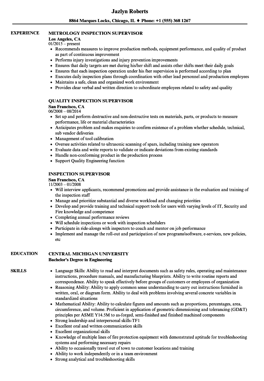 resume samples for supervisor positions - inspection supervisor resume samples velvet jobs