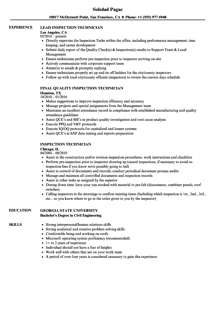 Inspection Technician Resume Samples | Velvet Jobs