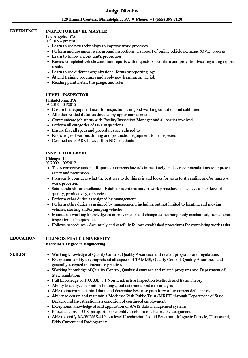 inspector level resume samples velvet jobs