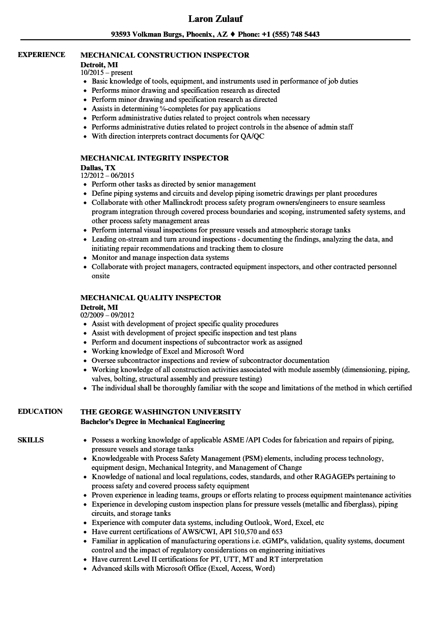 Inspector, Mechanical Resume Samples | Velvet Jobs