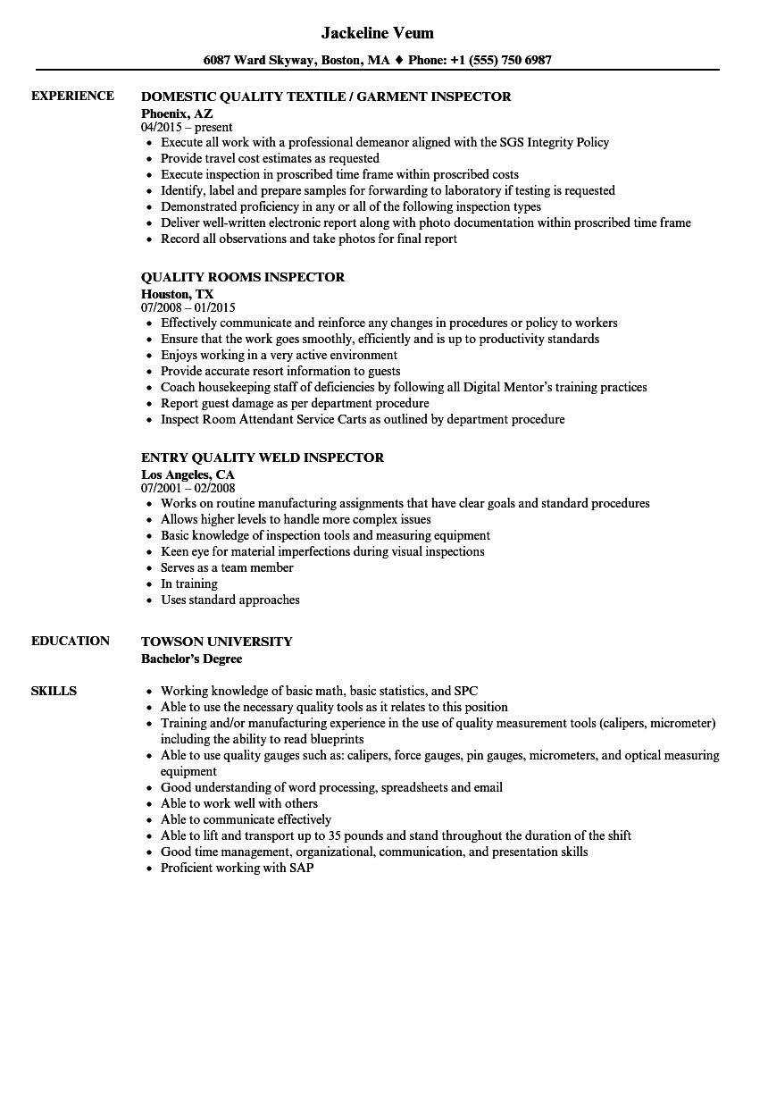 inspector  quality resume samples