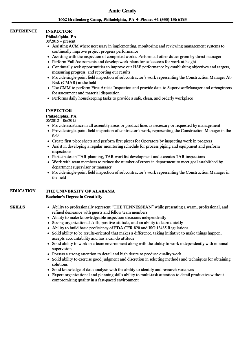 Inspector Resume Samples | Velvet Jobs