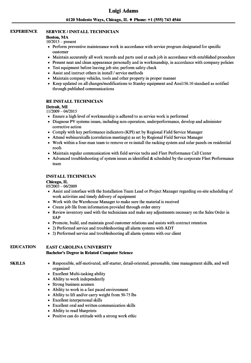Install Technician Resume Samples Velvet Jobs