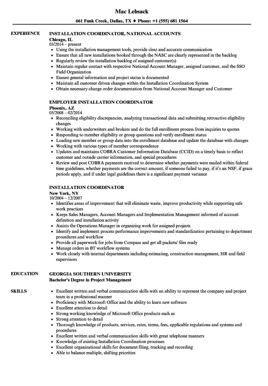 installation coordinator resume samples