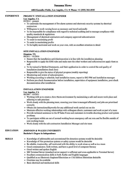 installation engineer resume samples