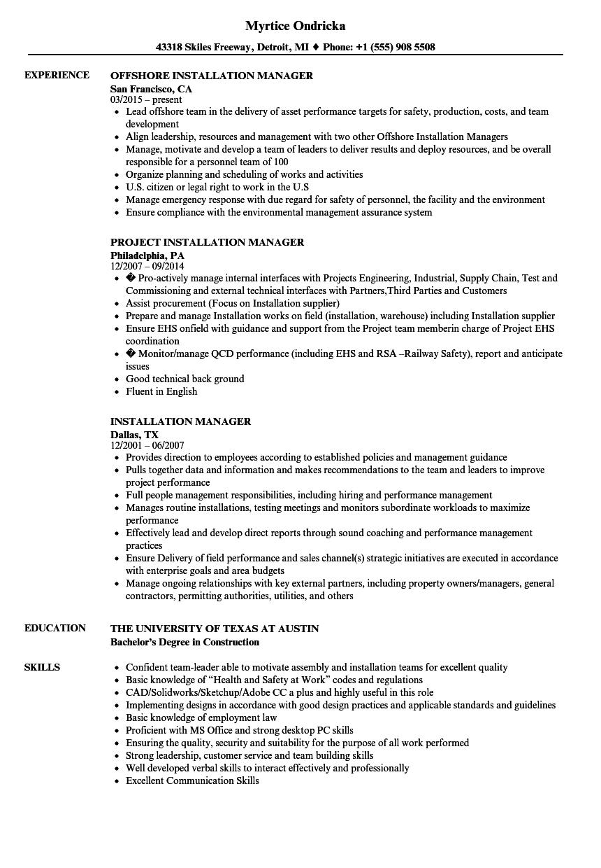 Installation Manager Resume Samples | Velvet Jobs